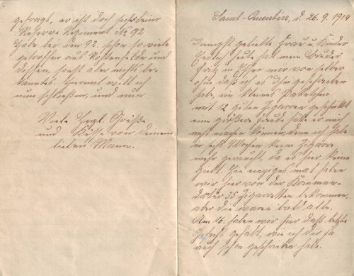 Brief vom 26. September 1914_Seite 1