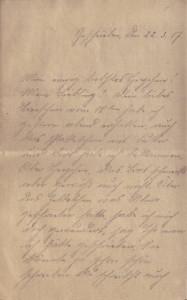 August Jasper an seine Frau Bernhardine, erste Seite des Feldpostbriefes vom 22. März 1917.