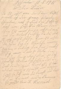Feldpostkarte vom 12. August 1916.