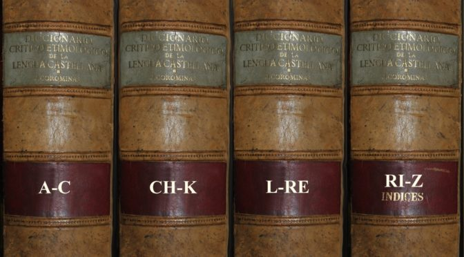 """Diccionario crítico etimológico de la lengua castellana"" by Joan Coromines, in four volumes, property of the author, with a custom leather binding."