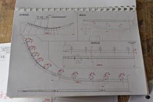 Plan quille, brion, étrave © Ph. Groscaux, CNRS-CCJ