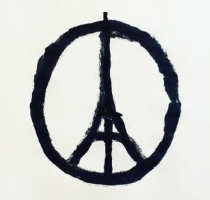 La Tour Eiffel mixé avec le symbole peace-and-love, créé par Jean Julien, Designer à Nantes, novembre 2015.