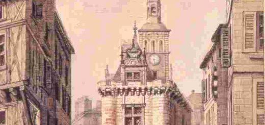 Maison de Ville de Niort à l'époque d'Agrippa d'Aubigné-aquarelle du fonds Galteaux