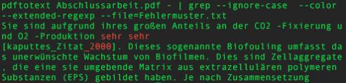Fehlersuche in PDFs mittels der Kommandozeilenwerkzeuge pdftotext & grep.