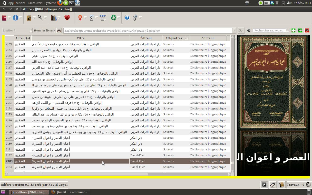 Une partie de ma bibliothèque de sources arabes sous Calibre