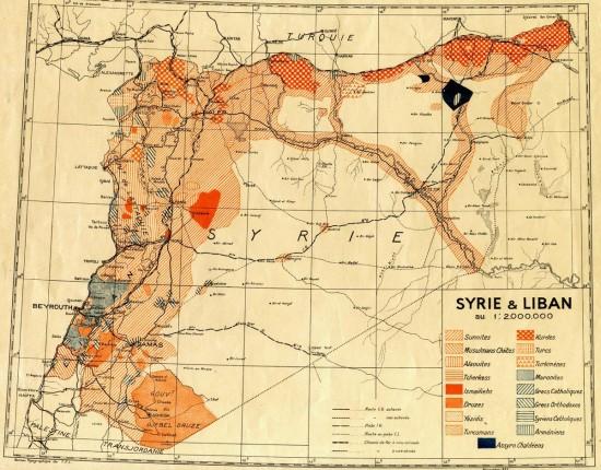 Syrie et Liban. Carte de 1935. Communautés religieuses et ethnies