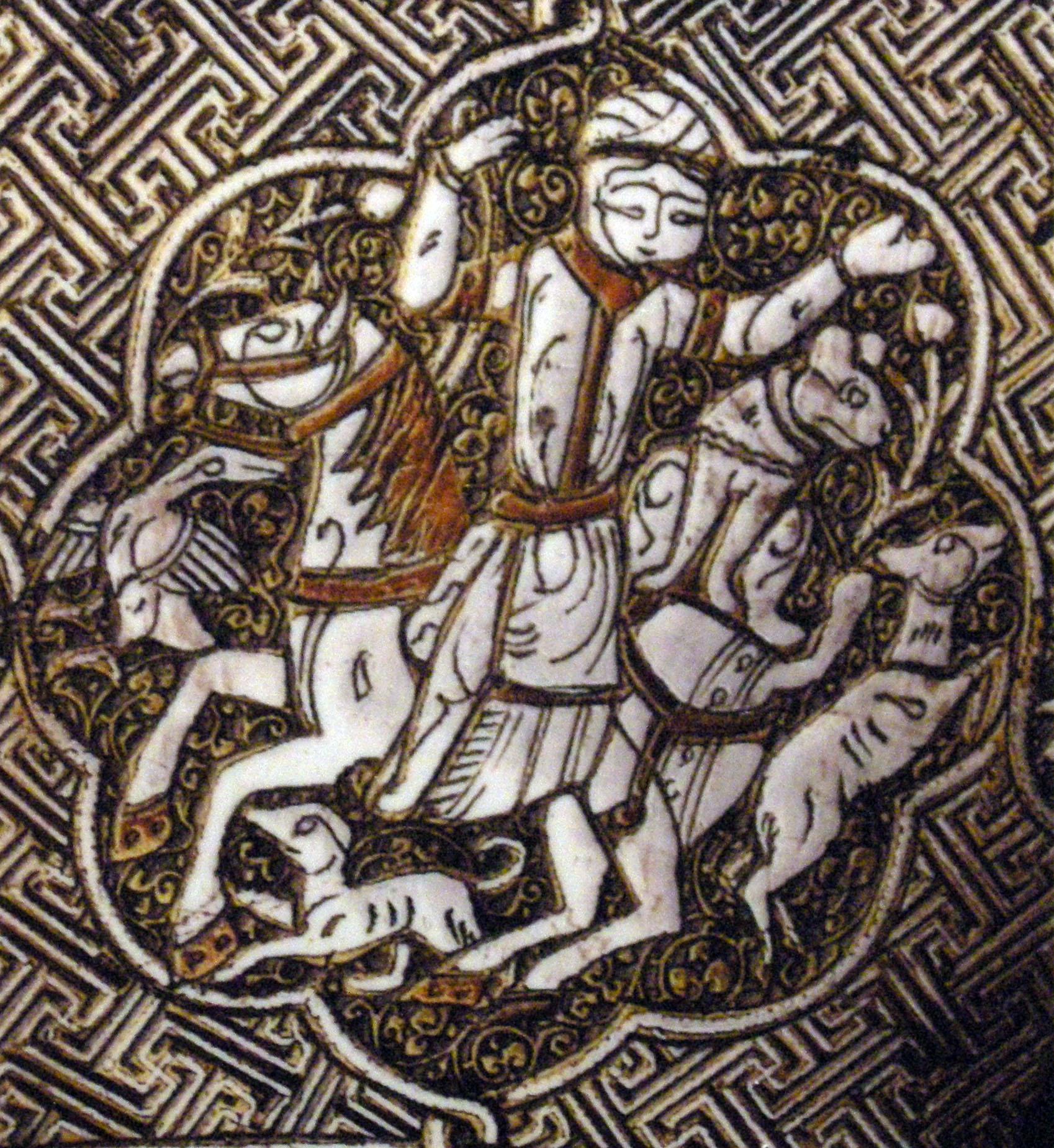 Chasse à cheval, avec guépard assis à l'arrière du cheval. Aiguière Blacas, vers 1232, Irak, Mossoul. British Museum, ME OA 1866.12-29.61rak-mosoul-Blacas-aiguiere-british-museum