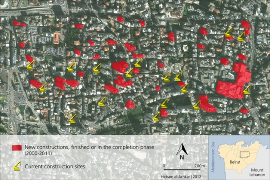 Fig. 2 : New constructions in the western part of Achrafieh Source: Google Earth 2011; Field survey conducted by Éléonore Boissinot & Hicham el-Achkar, 2011