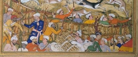Mansur, Akbar chassant dans un enclos (Akbarnama), Londres, Victoria and Albert Museum