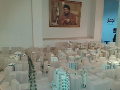 La maquette du projet dans les bureaux de Waad, sous l'oeil du Sayyed Hassan Nasrallah (EV)