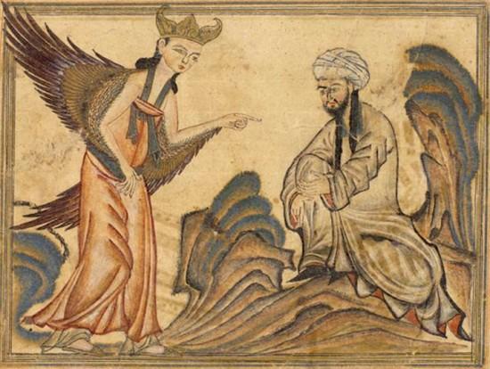 Illustration 1: Muhammad reçoit la révélation de l'ange Gabriel. Compendium des Histoires (Jâmi' al-tawârikh) de Rashîd al-dîn, manuscrit illustré produit à Tabriz au début du xive siècle (Edinburg University Library, MS Arab 20).