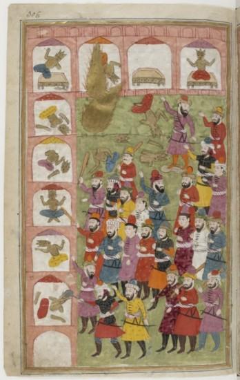 Illustration 2: Muhammad, sous la forme d'un nimbe dorée (en haut à gauche de l'image), détruit les idoles de la Kaaba. Miniature du Cachemire, XIXe siècle (Paris, BnF, Manuscrits orientaux, Supplément persan 1030, fol. 306).