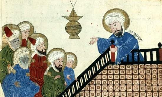 Une miniature célèbre représentant Muhammad et les traits de son visage, extraite de l'ouvrage d'al-Bîrûnî, al-Âthâr al-bâqiya, Iran, xvie siècle (Paris, BnF, Manuscrits orientaux, Arabe 1489, fol. 5v). Cette image est celle que l'éditeur Belin avait choisi de flouter dans l'un de ses manuels d'histoire destiné aux classes de 5e, en 2005