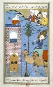 Muhammad, au visage nimbé de flammes, entre à LaMecque. Qazwin, fin du xvie siècle (Paris, BnF, Manuscrits orientaux, Persan 54, fol. 187).