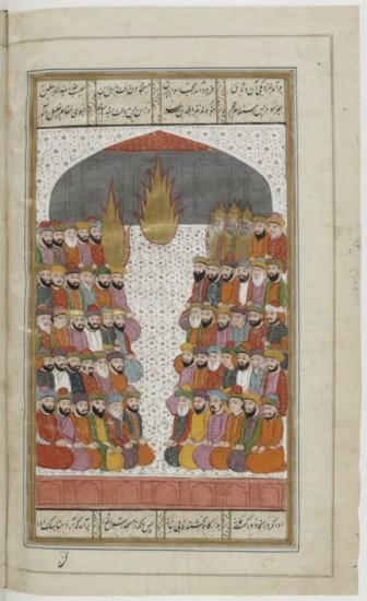 Muhammad siège devant les croyants en compagnie des quatre premiers califes. Dans ce manuscrit chiite, Ali, le premier imam, est lui aussi symbolisé par une flamme. Miniature du Cachemire, xixe siècle (BnF, Manuscrits orientaux, Supplément persan 1030, fol. 374v).