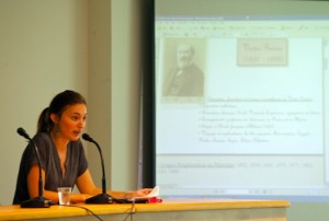 M. Thuillier présentant l'œuvre scientifique de V. Guérin (Photo Marie-Armelle Beaulieu)