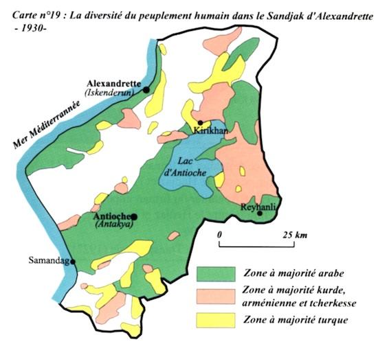 Carte du peuplement du Sandjak d'Alexandrete en 1930