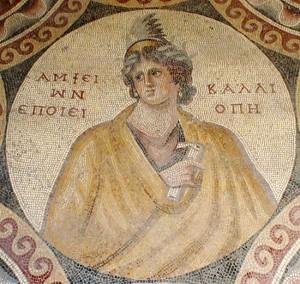 Kalliopè, détail de la mosaïque des Sages, Musée national de Beyrouth (photo F. Alpi)