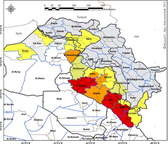 Fig. 1 : Zones en discussions en Irak en 2012