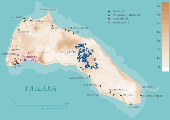Carte de l'île de Faïlaka avec indication des sites archéologiques © H. David-Cuny