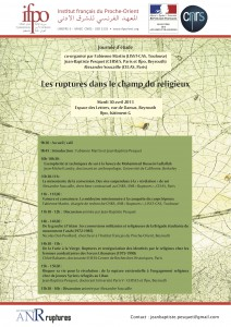 Affiche  de la journée d'études Les ruptures dans le champ religieux