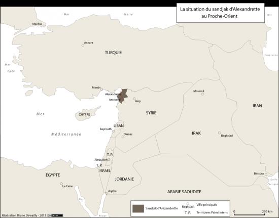 Carte de situation du Sandjak d'Alexandrette au Porche-Orient