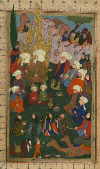 Le prophète Muhammad, ʿAlī, et ses fils Ḥasan et Ḥusayn. Baltimore, Walters Art Museum, Ms. W.679 Ba. Turquie, 17e s.