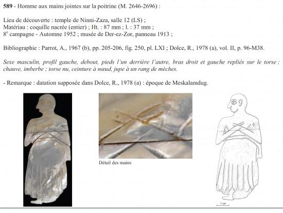 Figure 3 : fiche attribuée à une pièce représentant un homme en prière, extrait du catalogue des incrustations de Mari (COUTURAUD 2013).
