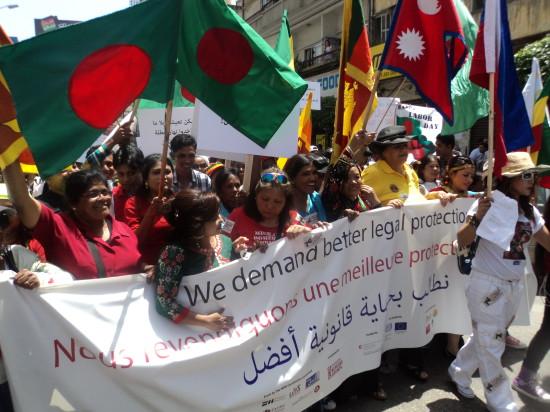 © Manifestation des domestiques étrangères contre le système de la Kafala, Vincent Geisser, Beyrouth mai 2014.