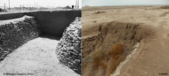 État du fossé est lors de sa mise au jour dans les années 1950 (© Moesgard Museum Arhus) et en 2013 (©MAFKF).