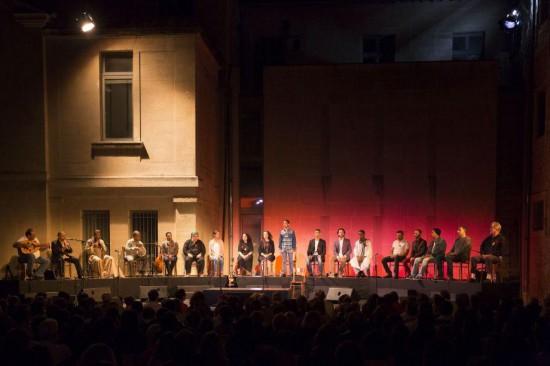 Haeesheek, sur scène à Avignon, 2014 (photo Christophe Raynaud de Lage, Festival d'Avignon)