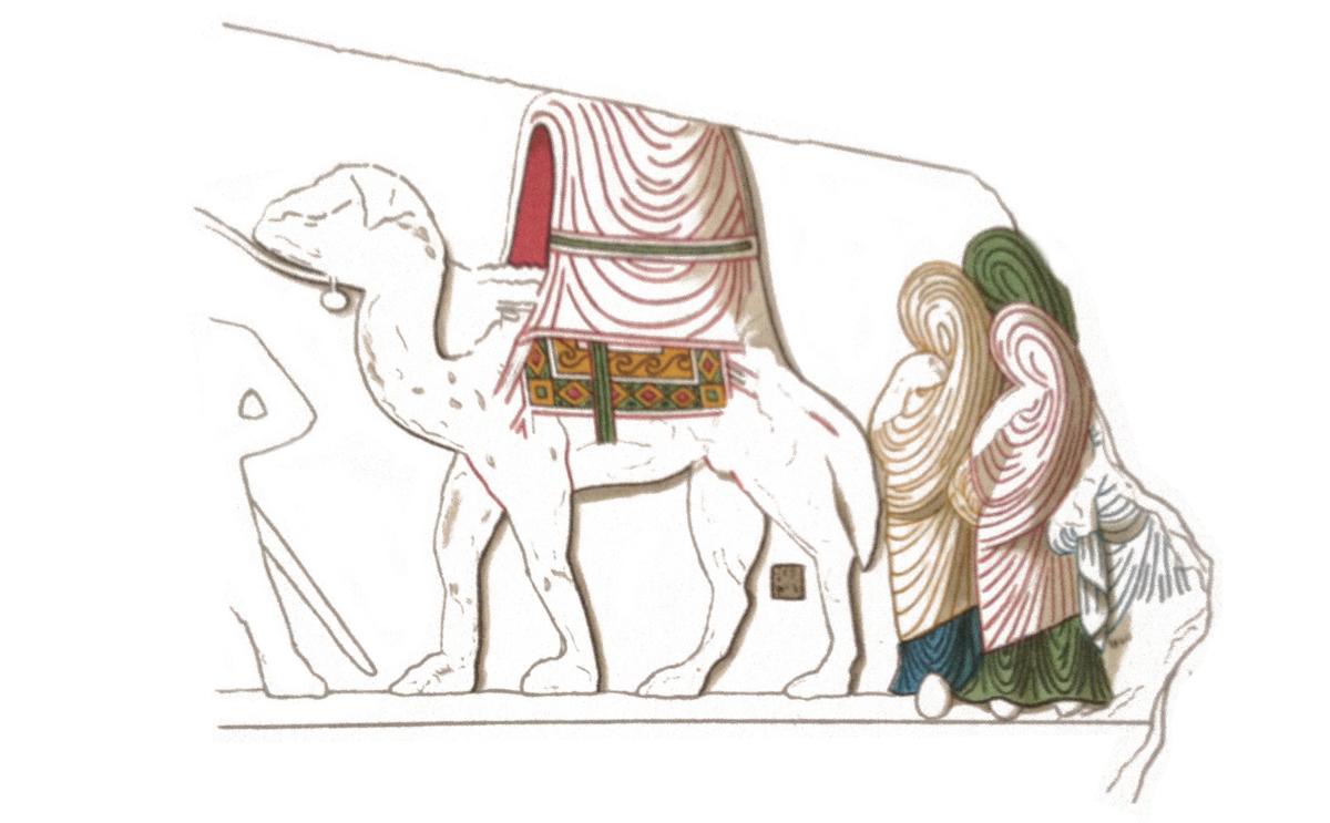 Fig. 9 : Relevé d'un décor en bas-relief ornant une des poutres du sanctuaire et représentant une procession, avec restitution de la polychromie (SEYRIG, AMY, WILL, 1968-1975) © Institut Français du Proche-Orient.
