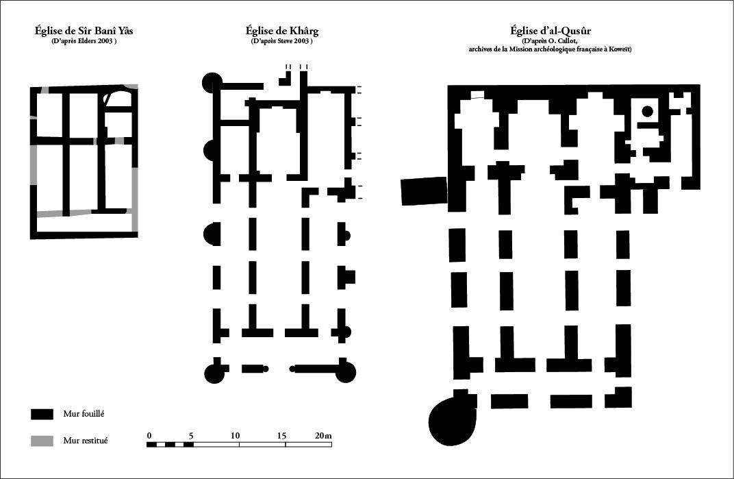 les églises de Sîr Banî Yâs, Khârg et al‑Qusûr.
