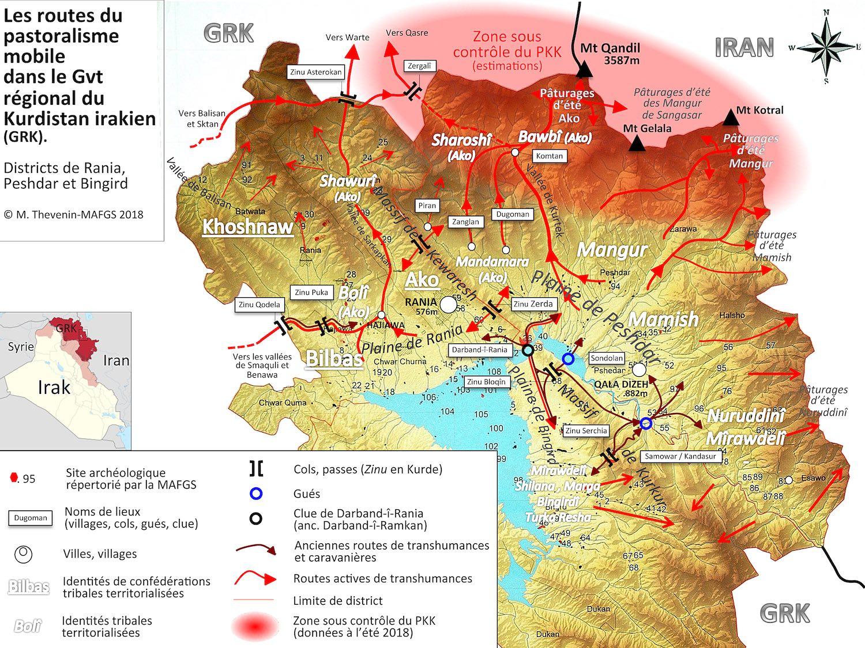 Carte des transhumances dans la rėgion de Rania 2018