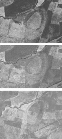 Figure 3 : photographies du programme Corona (prises le 16 aout 1968 pour les deux premières et le 3 aout 1969 pour la troisième) (https://corona.cast.uark.edu/atlas#zoom=17¢er=4853240,4374718) (Center for Advanced Spatial Technologies, University of Arkansas/U.S. Geological Survey)