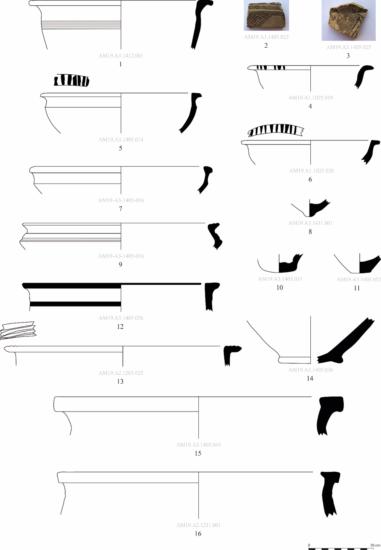 Figure 6 : vaisselle mi-fine retrouvée à Amyan, spécifique de l'âge du Bronze moyen et récent (MAA)
