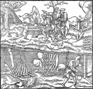 """G. Agricola, """"De re metallica"""".  Fuente: Wikimedia"""