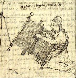AVACOC VARMI [tejedora] / muger de tributo. Nueva corónica y buen gobierno. Imagen, cortesía de The Royal Danish Library