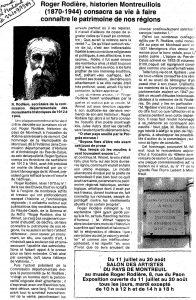 hommage Rodière dans journal 1984