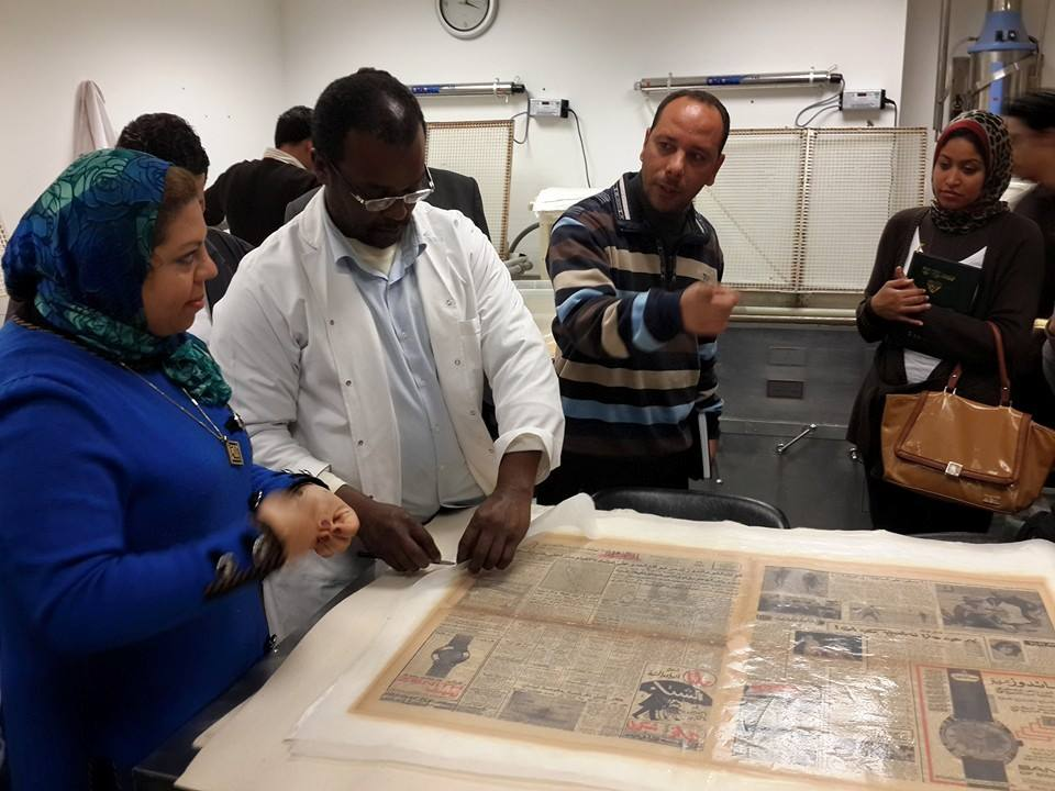 A member of staff from the Chemistry and Environmental Monitoring section of the Manuscripts museum department of the Library of Alexandria discusses preservation techniques.