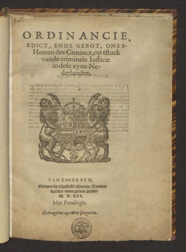 Ordinance printed by Christophe Plantin in 1570