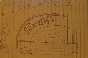 représentation du site par un enfant. Emergent les éléments de surface tactile : eau, végétation, murs délimitant, Khetarras donnant un « volume ludique » à l'espace.