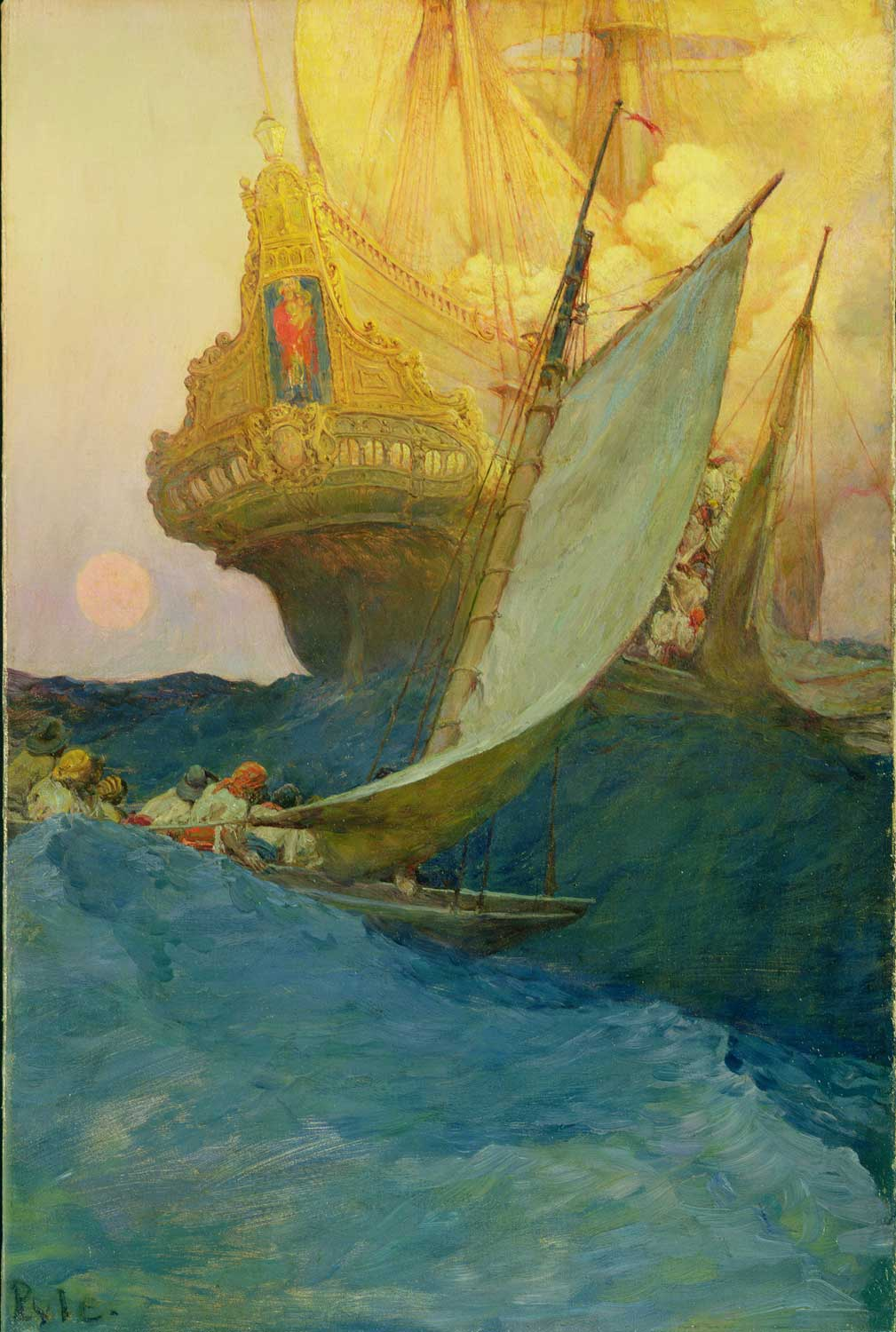 """""""An Attack on a Galleon,"""" Howard Pyle, 1905. Oil on canvas."""