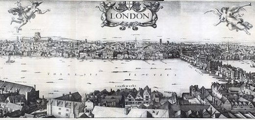 Panorama of London, 1647. The Pool of London is visible on the right.