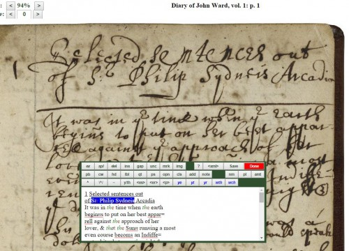 "Diary of John Ward being transcribed in Dromio (from ""The Collation,"" the Folger Shakespeare Library blog)"