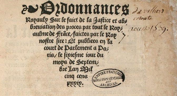 Commenter l'ordonnance de Villers-Cotterêts (1539-1681), par Charles-Yung Baud