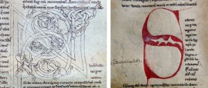 Oxford, Bodleian Library, MS Bodley 514, f. 18v and 19r. On 19r (right) the original design can be seen traced in lead beneath the later red letter. By permission of the Bodleian Libraries, University of Oxford. Photographer: Jaakko Tahkokallio.