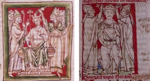 Chetham's MS. 6712: Illustrations of the coronation of Richard I and Edward I. The latter is part of the Westminster continuation and highlights the different standard of production.