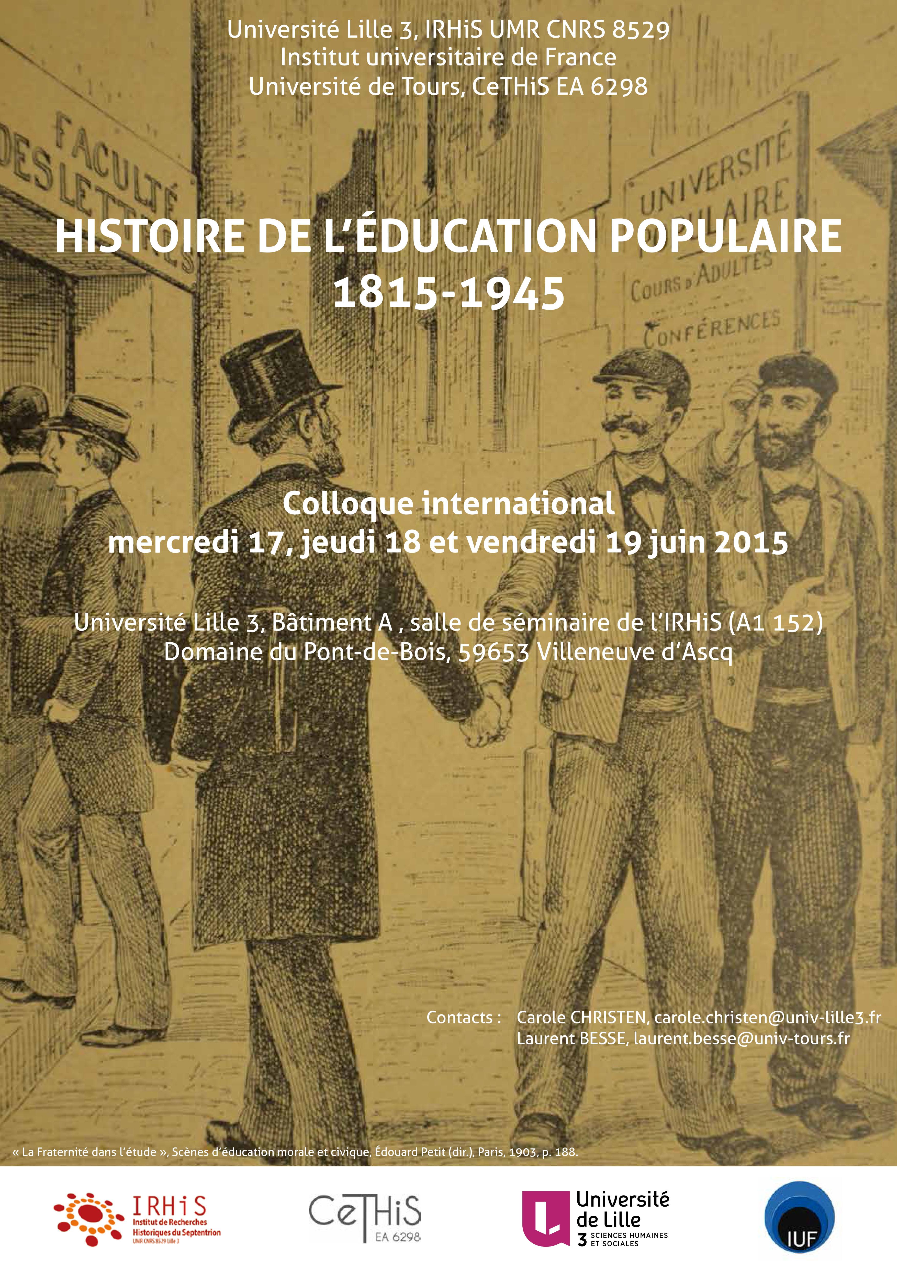 Colloque Histoire éducation populaire
