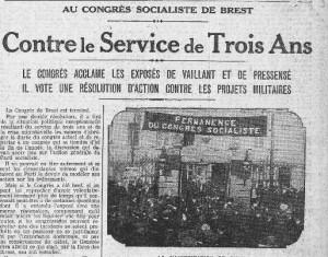 Le congrès de Brest à la Une de l'Humanité, 25 mars 1913